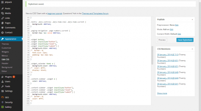 WordPress Admin Screenshot with Code