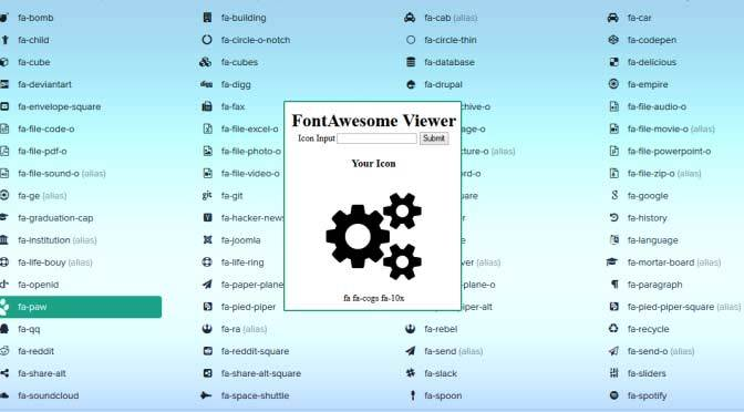 Font Awesome Icon Viewer Form